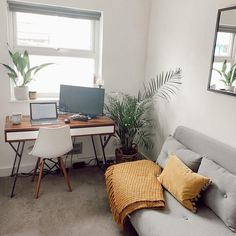 Sofa Bed Office, Guest Bedroom Home Office, Bedroom Office Combo, Spare Room Office, Office With Daybed, Guest Room, Grey Office, Sofa Bed For Small Spaces, Spare Room Ideas Small