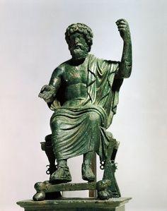 Bulgaria, Hascovo region, Smeevo, Hellenistic statuette representing Zeus (Jupiter), bronze