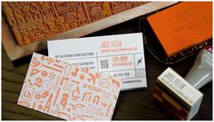 letterpress and stamp - personalize your cards...great idea