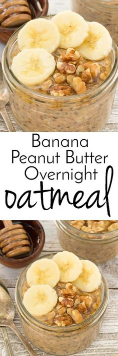 Get out of bed sleepy head and enjoy this Banana Peanut Butter oatmeal you made the night before!  Also made with chia seeds, honey and walnuts a healthy breakfast.