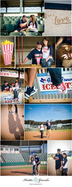 baseball themed engagement photos<3