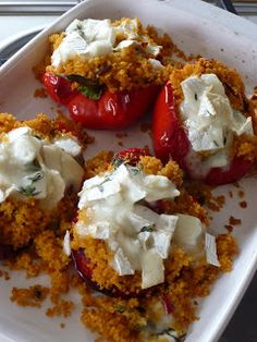 Goats cheese and couscous stuffed peppers