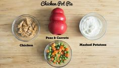 Healthy Treats You Can Stuff In Your Dog's KONG Toy Chicken Pot Pie KONG RecipeStuff Stuff, stuffed, and stuffing may refer to: Dog Treat Recipes, Dog Food Recipes, Pie And Peas, Kong Treats, Jouet Kong, Dog Enrichment, Food Dog, Kong Dog Toys, Kong Recipe