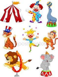Cute cartoon instellen Circus thema — Stockillustratie #63519123