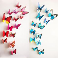 Купить товар72 шт. = 6 компл. 3D наклейки бабочки магнит свадебная фотография реквизит предметы интерьера дизайн наклейка стены в категории Наклейки на стенуна AliExpress.          100% новый и высокое качество                        12 шт. = 3D бабочка наклейки смеша