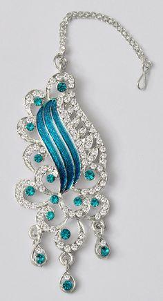 Shining Silver & Aqua Maang tikka - India