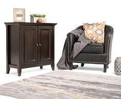 Simpli Home Amherst Low Storage Cabinet, Dark Brown
