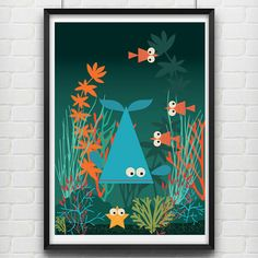 Illustrated Whale and underwater fishes Poster size by Ladiebirdy