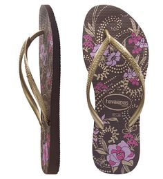 a8351d28a Autumn-hued slim Havaianas with burnished copper and pink flora and fauna  print on deep brown Brazilian rubber. Features dazzling metallic gold  skinny ...