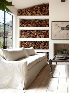 a stylish way to store firewood