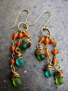 Handmade Wire Wrapped Glass Teardrop Beads Brass Orange by Grubbi, $10.00