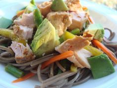 A recipe for kosher, dairy-free soba noodle salad with vegetables and salmon