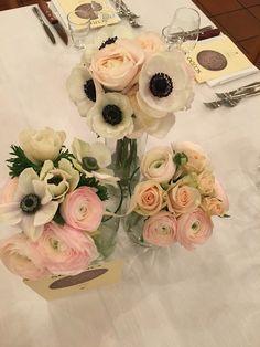 Centrotavola matrimonio, allestimento matrimonio, fiori per matrimonio anemoni, ranuncoli, rose