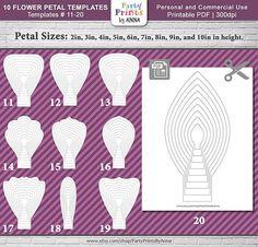 paper flower template Set of 10 DIY Printable Flower Petals