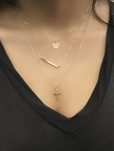 Layered SET of three necklaces Cross bar & Initial by potionumber9