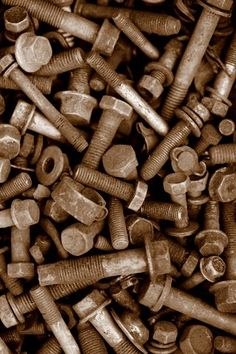 Nuts and bolts in a sepia tone by Nina Matthews Photography, via Flickr