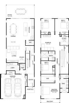 Floor plan Floor plan Image Size: 2011 x 3015 Source Cottage House Plans, New House Plans, Modern House Plans, House Floor Plans, Double Storey House Plans, Narrow Lot House Plans, 2 Storey House Design, Duplex House Design, The Plan