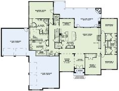 European Style House Plan - 3 Beds 3.5 Baths 4076 Sq/Ft Plan #17-2491 Main Floor Plan - Houseplans.com