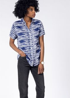 This navy and white button up short sleeve shirt has an ikat print. By Wildfang. White Button Up, Wedding Crashers, Ikat Print, Edgy Outfits, Tomboy, Classic Looks, Stitch Fix, Navy And White, Street Wear