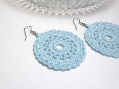 Dangle Earrings Sky Blue Crochet Lace Doily Round Motif Jewelry Sweet Spring Fashion Handmade by Lilena