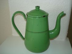 Vintage-Green-Enamelware-Coffee-Pot