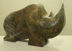 RHINO from soapstone by artist  ALLAN  WAIDMAN Stone Sculpture, Soapstone, Stone Carving, Mammals, Sculptures, Wire, Artist, Inspiration, Biblical Inspiration