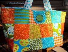 Patchwork Tote Bag Extra Large Bag Market Bag by twistedsticks, $65.00