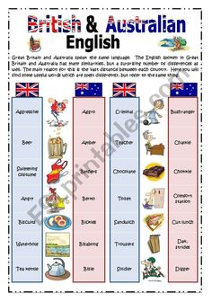 British & Australian English: Pictionary - ESL worksheet by Book Writing Tips, English Writing Skills, Writing Words, English Verbs, English Phrases, English Vocabulary, British And American English, Australian English, English Tips