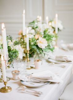 Neutral Centerpiece with Taper Candles | photography by http://www.artiesestudios.com/