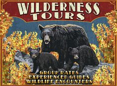 Wilderness Tours - Black Bears (Horizontal) - Vintage Sign - Lantern Press…