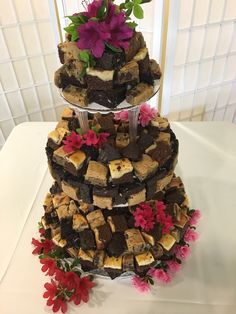 #Brownie Wedding Cake stacked with Five kinds of brownie bites #wedding cake #weddings #caterer DC #catering Northern Virginia