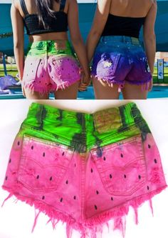 Vtg Levis 501 Tie Dye WATERMELON High Waisted CUT OFF FESTIVAL Denim Shorts S