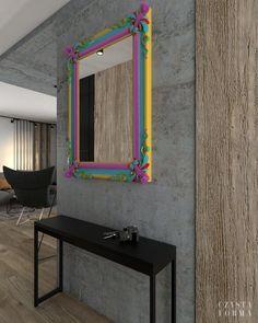 Concrete interior / Fancy mirror / Awesome mirror / Colorful mirror /  Wooden interior / Wooden hallway / Black hallway /   Modern interior design / Portfolio projektowanie wnętrz lublin | Czysta forma | Projektowanie wnętrz Lublin, Warszawa Modern Interior, Concrete, Copper, Modern Interiors, Brass, Contemporary Interior, Modern Home Design, Interior Modern