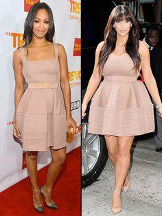 ZOË VS. KIM Recientemente, Kim Kardashian (der.) lució ese vestidito Lanvin, que Zoë Saldaña se había pusto a principios de diciembre para asistir a un evento en Los Ángeles.