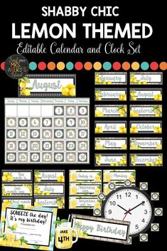 SQUEEZE THE DAY with this lemon classroom calendar and clock decor set. You will love the shabby chic decor packet which includes ALL the things you need to compliment your lemon themed classroom decorations.  Editable templates are included for you to choose your own font preferences if you'd like!  Click to check out this HUGE bundle of lemon classroom decorations and have your back to school bulletin boards looking ZESTY. #lemonclassroomtheme #lemonclassroomideas #lemonbulletinboards #lemons