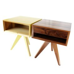 The Bungalow House Square Side Tables in Yellow and Walnut with Optional Drawer