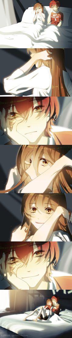 Manga Couple, Anime Love Couple, Anime Couples Manga, Cute Anime Couples, Mystic Messenger Comic, Anime Lindo, Cute Comics, Anime Kawaii, Anime Art Girl