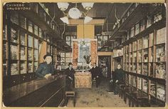 """Interior of Chinese Drug Store, Chinatown, San Francisco by chinatowncharlie2, via Flickr.  The page says """"circa 1890"""" but the electric lamp overhead makes that hard to believe."""