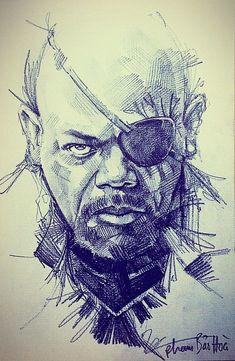 Art drawings Avengers, Samuel L. Jackson (Nick Fury) – Welcome Arte Dc Comics, Marvel Comics Art, Marvel Heroes, Thanos Avengers, Avengers Art, Comic Kunst, Comic Art, Drawing Sketches, Art Drawings