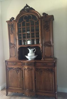 Antique French buffet, Louis XV Rococo style, 1890 carved in walnut, bought by our interior designer customer and placed here in her client's home. A gorgeous dash of antique French style! EuroLuxHome.com