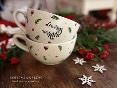 CANA JUMBO mare Ceai Cafea Cereale Supa cu Decoratie de Craciun pictata manual