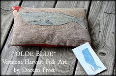 Olde Blue ~ (c)Doreen Frost, Vermont Harvest Folk Art 2014  Patriotic Punch Needle, Whale Punch Needle designs, Watercolor Whales