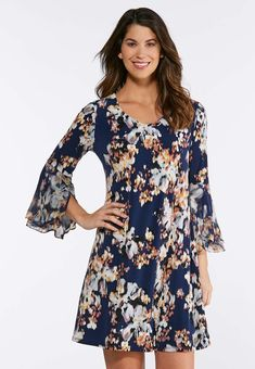 d01a2271ab Plus Size Floral Tulip Sleeve Dress A- Line   Amp   Swing Cato Fashions