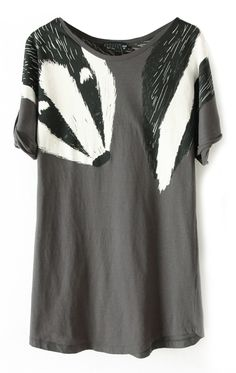 Grey Short Sleeve Shoulder Badger Print T-Shirt