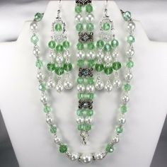 White pearl and Chrysolite crystals Jewelry and Rosaries. $38.00