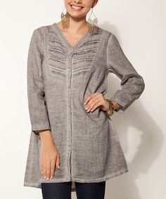 Silver Pleated Linen Tunic