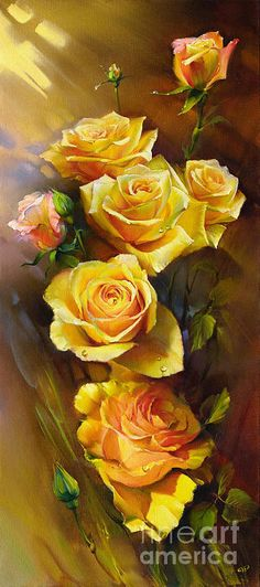 Yellow Roses Poster by Roman Romanov.  All posters are professionally printed, packaged, and shipped within 3 - 4 business days. Choose from multiple sizes and hundreds of frame and mat options.