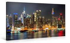MANHATTAN NIGHT LIGHTS - Luxury Canvas Art Print - 40x20 inch Large New York - #Gallery #ArtDeco