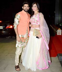 Hussain and Tina Kuwajerwala at Ashish Chowdhry's #Diwali bash. #Bollywood #Fashion #Style #Beauty #Desi