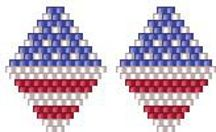 Stars and Stripes Earrings Pattern by Bead Art by Ronit at Bead-Patterns.com